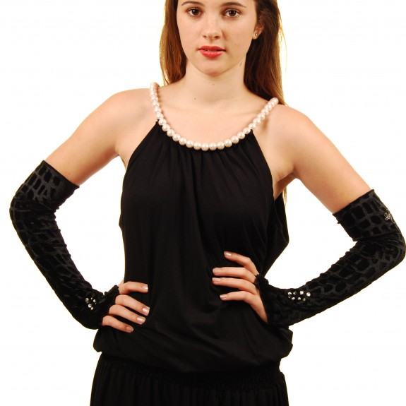 Black dress pearls sleeves