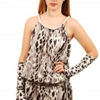 Grey cheetah dress pearls demi sleeves