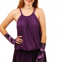 Purple dress plait demi sleeves