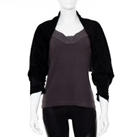 black cotton knit shrug