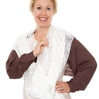 white scarf & mocha shrug-1968