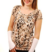 Brown Cheetah Tee White Rayon short__0580