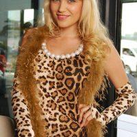 Brown Leopard dress pearls0229