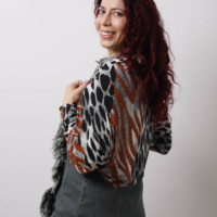 Orange & Green Animal shrug9423