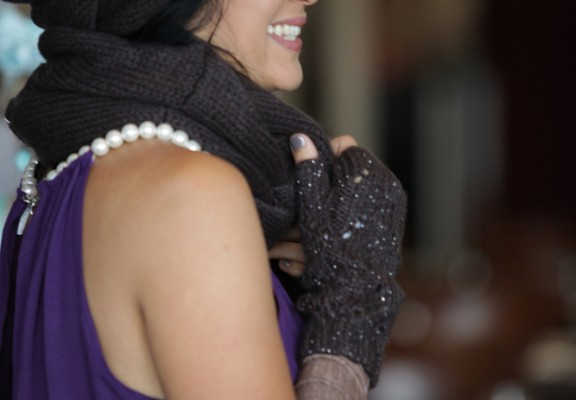 Brown scarf head brown wool sleeves_8576